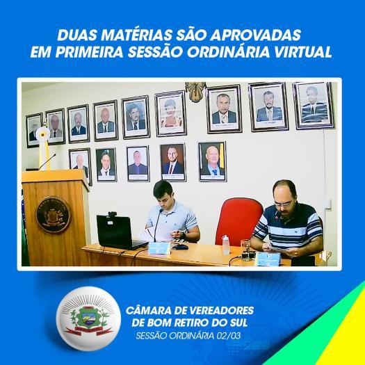 Duas matérias são aprovadas  em primeira sessão ordinária virtual