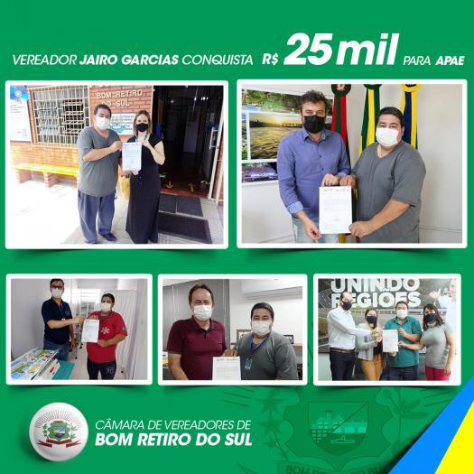 Vereador Jairo conquista R$ 25 mil para APAE